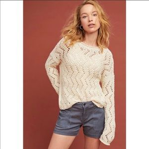 Anthro Akemi + kin sable pointelle sweater Xs